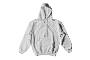 """Antics"" Embroidered Hoodie - Heather Grey & Orange"
