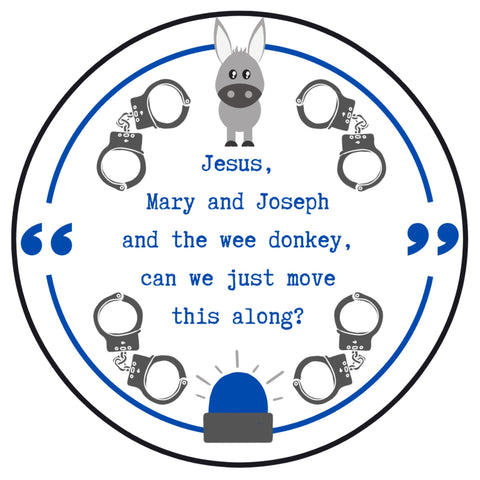 Line of duty inspired embroidery kit - Jesus Mary and Joseph and the wee donkey -Ted Hastings design Line of duty inspired gift.
