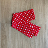Red large polka dot face mask & head band