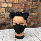 Black solid colour facemask - head band - headband and face covering set