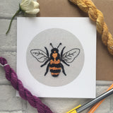 Bee embroidery print or card