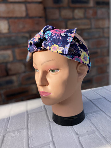 Navy retro face mask - headband - mask & headband set