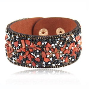 2018 Hot Sale Fashion Stone Beacelets For Women Wrap Cuff Slake Leather Bracelets With Crystal Rhinestone Couple Nature Jewelry