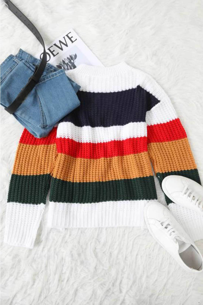 Cool Girl Multicolor Patchwork Sweaters \u2013 Love or you