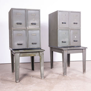 1940s Pair Of Industrial Metal Side Storage Cabinets