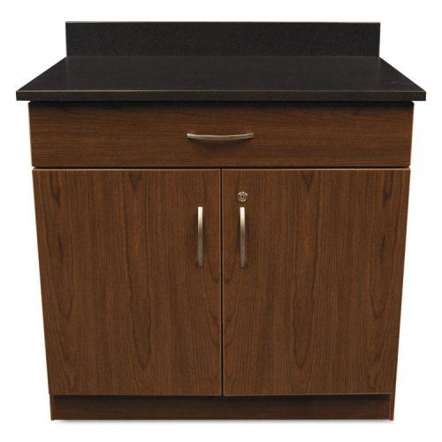 Alera Plus™ Hosp. Base Cabinet, Two Doors/Drawer, 36w x 24 3/4d x 40h, Cherry/Granite Nebula