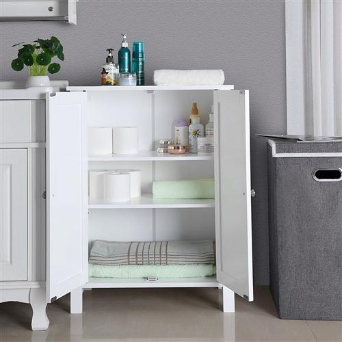 White Floor Cabinet with 2 Doors and Adjustable Storage Shelves