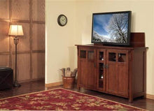 Load image into Gallery viewer, Home touchstone 70062 bungalow tv lift cabinet chestnut oak up to 60 inch tvs diagonal 55 in wide mission style motorized tv cabinet pop up tv cabinet with memory feature ir rf 12v trigger