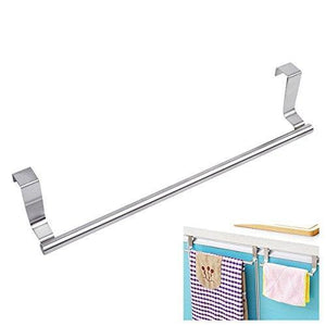 Products kozanay towel bar with hooks for bathroom and kitchen brushed stainless steel towel hanger over cabinet door