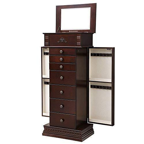 Products songmics large jewelry armoire cabinet standing storage chest neckalce organizer dark walnut ujjc14k