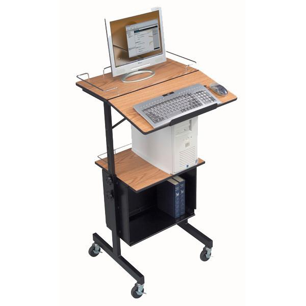 Mobile Projection Station or Stand-Up Workstation with Cabinet