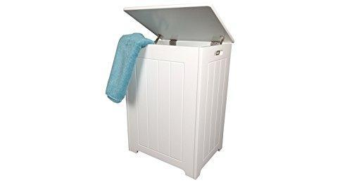 (47069 Laundry) White wooden Laundry Bin - tongue and groove style