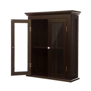 Discover the glitzhome wooden furniture wall storage accent cabinet with double glass doors for bathroom bedroom kitchen living room espresso