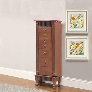 Selection fdw jewelry cabinet jewelry chest jewelry armoire wood jewelry box storage stand organizer with side doors 7 drawers makeup mirror