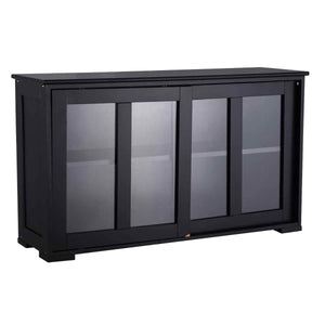 Best waterjoy kitchen storage sideboard stackable buffet storage cabinet with sliding door tempered glass panels for home kitchen antique black