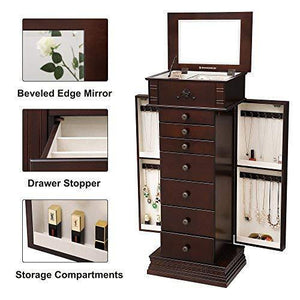 Results songmics large jewelry armoire cabinet standing storage chest neckalce organizer dark walnut ujjc14k