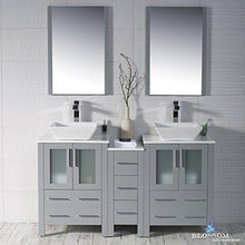 Load image into Gallery viewer, Amazon blossom sydney 60 inches double vessel sink bathroom vanity side cabinet vessel ceramic sink with mirror solid wood metal grey 001 60 15d 1616v