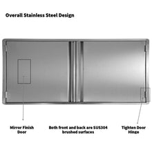 Load image into Gallery viewer, Try ciogo outdoor kitchen cabinets 31x21 inch double wall bbq doors 304 all brushed stainless steel double bbq access doors for bbq island bbq grill outdoor kitchen or outside cabinet built in