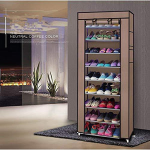 10 Layers Shoe Rack Shoe Storage Organizer Cabinet Portable Boot Rack Tower Shoe Rack Space Saving Stackable Shoe Rack Storage Organizer Closet Shelves Shoe Tower Nonwoven Fabric Cover (Coffee)