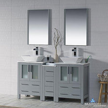 Load image into Gallery viewer, Try blossom sydney 60 inches double vessel sink bathroom vanity side cabinet vessel ceramic sink with mirror solid wood metal grey 001 60 15d 1616v
