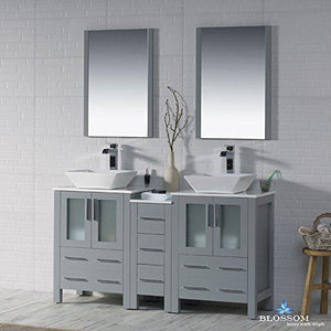 Try blossom sydney 60 inches double vessel sink bathroom vanity side cabinet vessel ceramic sink with mirror solid wood metal grey 001 60 15d 1616v