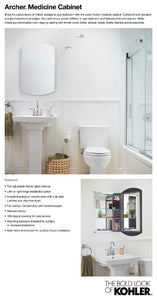 Results kohler k 3073 na archer frameless 20 inch x 31 inch aluminum bathroom medicine cabinet recess or surface mount