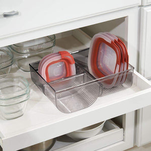 Save mdesign food storage container lid holder 3 compartment plastic organizer bin for organization in kitchen cabinets cupboards pantry shelves 2 pack smoke gray