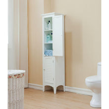 Load image into Gallery viewer, Save elegant home fashions simon 15 in w x 63 in h x 13 1 4 in d bathroom linen storage floor cabinet with 2 shutter doors in white