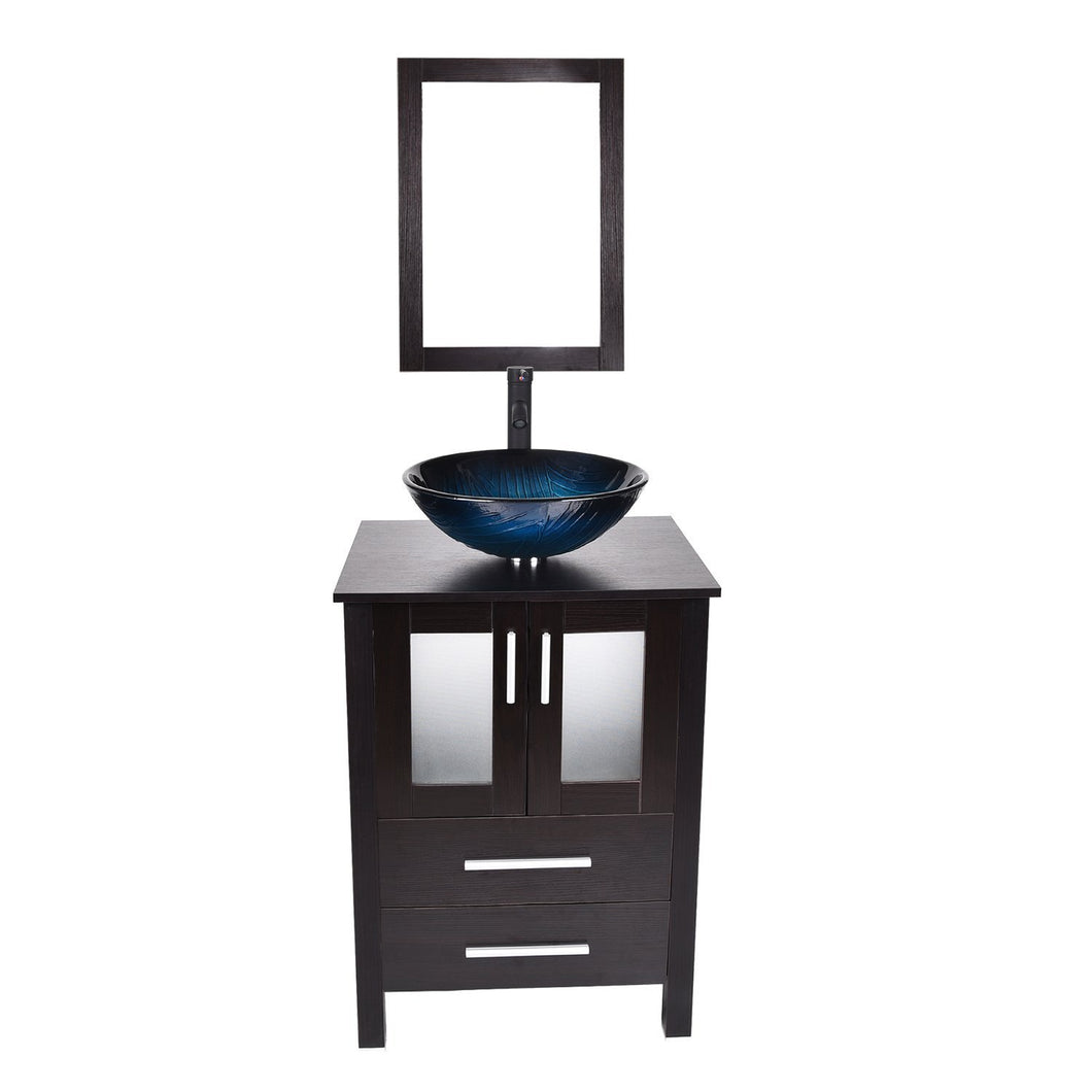 Selection 24 inch bathroom vanity modern stand pedestal cabinet wood black fixture with mirror ocean blue tempered glass sink top with single faucet hole