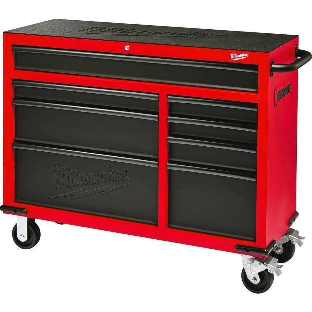 Products milwaukee heavy duty red black 46 in 8 drawer rolling steel storage cabinet contemporary hardware chest for your carpentry or construction tools like drills wrenches drivers battery packs