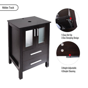 Shop for 24 inch bathroom vanity modern stand pedestal cabinet wood black fixture with mirror ocean blue tempered glass sink top with single faucet hole