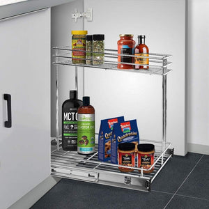 Latest secura pull out cabinet organizer professional kitchen and bathroom sink cabinet organizer with 2 tier sliding out shelves