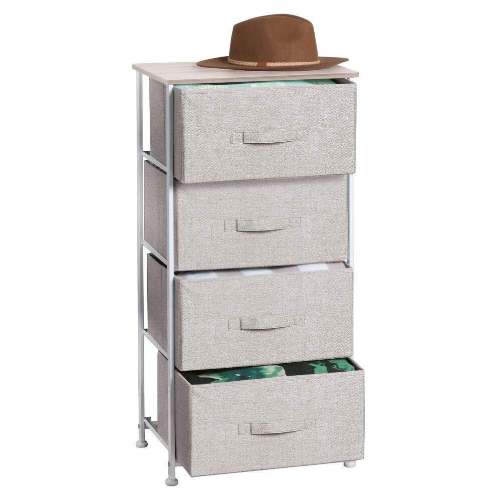 mDesign Vertical Dresser Storage Tower - Sturdy Steel Frame, Wood Top, Easy Pull Fabric Bins - Organizer Unit for Bedroom, Hallway, Entryway, Closets - Textured Print - 4 Drawers - Linen/Natural