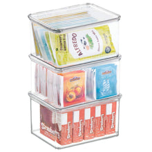 Load image into Gallery viewer, Best seller  mdesign stackable kitchen pantry cabinet or refrigerator storage bin with attached hinged lid compact food storage organizer for coffee tea and food packets snacks bpa free pack of 3 clear