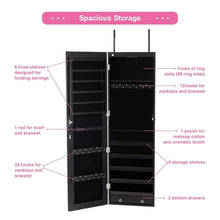 Load image into Gallery viewer, Products giantex wall door jewelry armoire cabinet with mirror 2 led lights auto on large storage wide mirrored 1 scarf rod 36 hooks 1 makeup pouch organizer for bedroom jewelry amoires w 2 drawers white