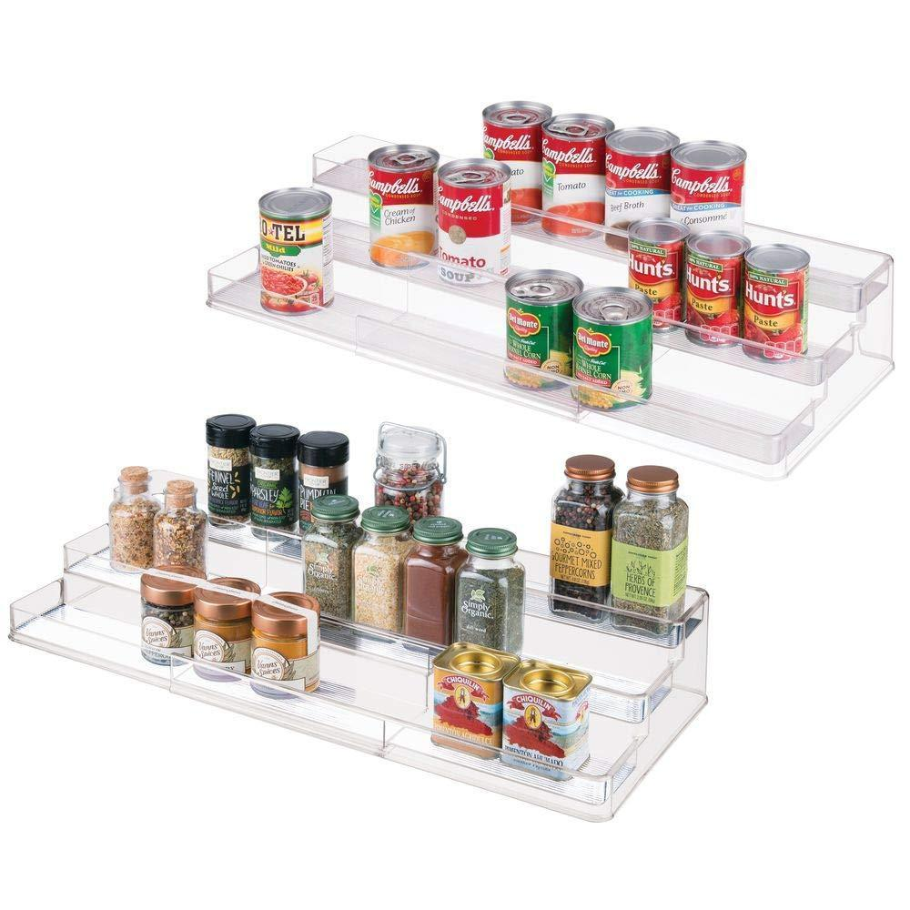 Discover the mdesign large plastic adjustable expandable kitchen cabinet pantry shelf organizer spice rack with 3 tiered levels of storage for spice bottles jars seasonings baking supplies 2 pack clear