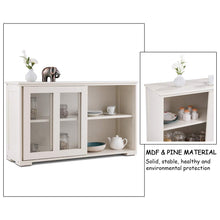 Load image into Gallery viewer, Results costzon kitchen storage sideboard antique stackable cabinet for home cupboard buffet dining room cream white with sliding door window