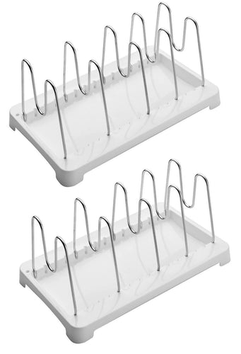 Amazon 2 pack adjustable pot lid holder plate rack pan and pot organizer for kitchen cabinet sus304 stainless steel rust proof