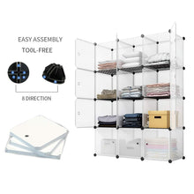 Load image into Gallery viewer, New kousi portable storage cube cube organizer cube storage shelves cube shelf room organizer clothes storage cubby shelving bookshelf toy organizer cabinet transparent white 12 cubes