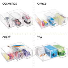 Load image into Gallery viewer, Shop here mdesign plastic kitchen pantry cabinet countertop organizer storage station with 3 drawers for coffee tea sugar packets sweeteners creamers drink pods packets 4 pack clear