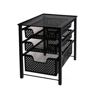 Shop here stackable 3 tier organizer baskets with mesh sliding drawers ideal cabinet countertop pantry under the sink and desktop organizer for bathroom kitchen office