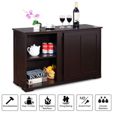 Load image into Gallery viewer, Storage costzon kitchen storage sideboard antique stackable cabinet for home cupboard buffet dining room espresso sideboard with sliding door