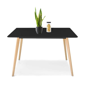 Jerry & Maggie - Dinner Table Desk Large Family Size with Wood Legs Stone Like Polish Surface Multi Purpose Work Study Living Room Kitchen Furniture Decor Modern Fashion Simple - Rectangle | Black