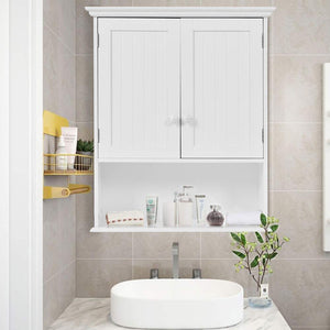 Great gentleshower bathroom wall cabinet wood medicine cabinet multipurpose home kitchen medicine storage organizer with 2 doors and 1 storage shelf white