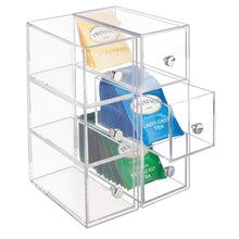 Load image into Gallery viewer, Shop mdesign plastic kitchen pantry cabinet countertop organizer storage station with 3 drawers for coffee tea sugar packets sweeteners creamers drink pods packets 4 pack clear