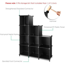 Load image into Gallery viewer, Best tomcare cube storage 9 cube closet organizer shelves plastic storage cube organizer diy closet organizer storage cabinet modular book shelf shelving for bedroom living room office black