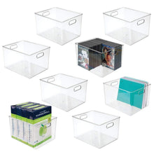 Load image into Gallery viewer, Featured mdesign plastic storage container bin with carrying handles for home office filing cabinets shelves organizer for school supplies pens pencils notepads staplers envelopes 8 pack clear