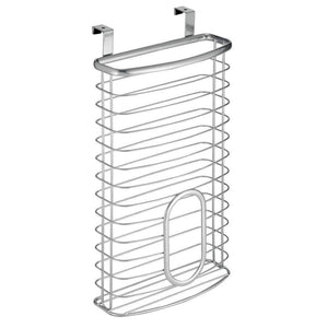 Great mdesign metal over cabinet kitchen storage organizer holder or basket hang over cabinet doors in kitchen pantry holds up to 50 plastic shopping bags silver