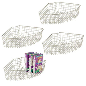 Cheap mdesign farmhouse metal kitchen cabinet lazy susan storage organizer basket with front handle medium pie shaped 1 4 wedge 4 2 deep container 4 pack satin