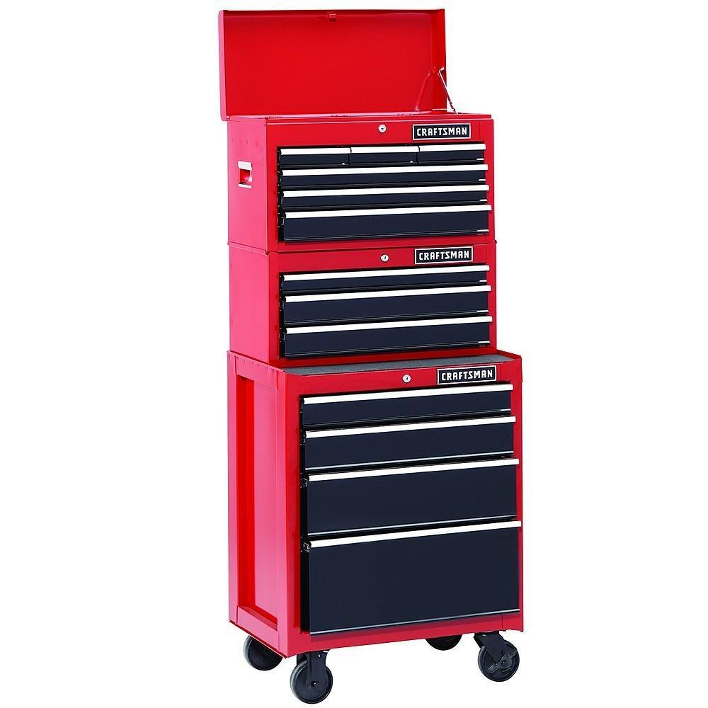 Shop 26 in 13 drawer heavy duty ball bearing 3 pc combo is perfect for your home garage or small work shop this 3 piece set includes a top chest middle chest and rolling cabinet store small parts hand tools or power tools in these storage boxes